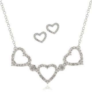 Finesque Silver Overlay 1/4ct TDW Diamond Heart Jewelry Set