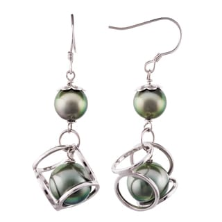 Pearlyta Sterling Silver Black Tahitian Pearl Design Earrings (9-10 mm) with Gift Box