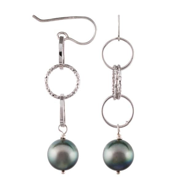 Pearlyta Sterling Silver Black Tahitian Pearl Dangle Earrings with Gift Box (9-10 mm)