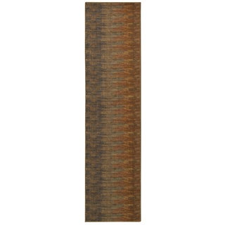 Indoor Brown and Rust Striped Area Rug (1'10 X 7'6)
