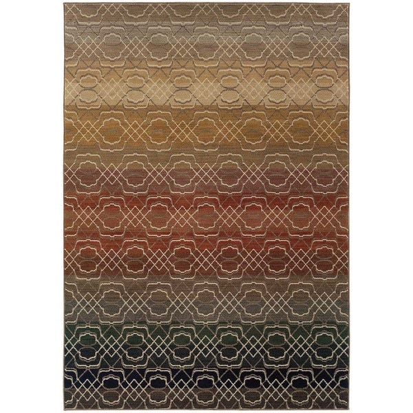 Indoor Grey Geometric Lattice Multicolored Area Rug - 7'8 x 10'10