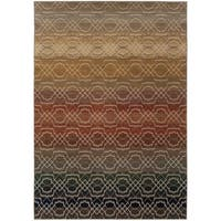 Indoor Grey Geometric Lattice Multicolored Area Rug - 7'8 x 10'10