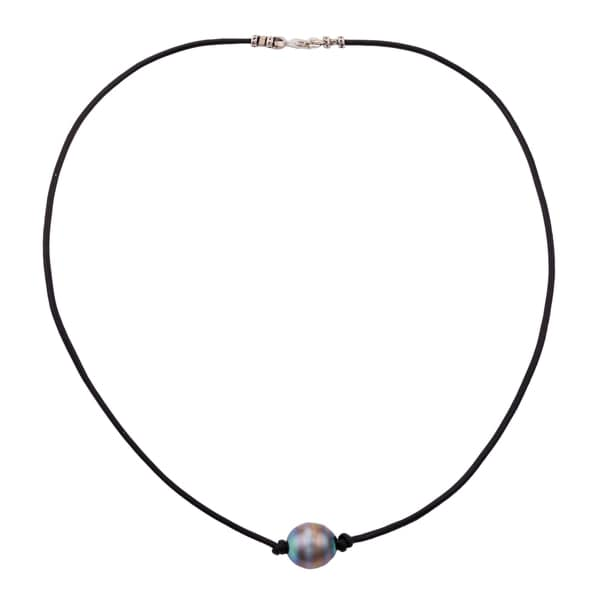 Pearlyta Black Tahitian Pearl and Thin Leather Cord Necklace (9-10 mm)