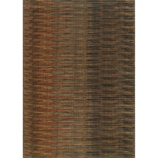 Indoor Brown and Rust Abstract Striped Area Rug (1'10 X 3'3)