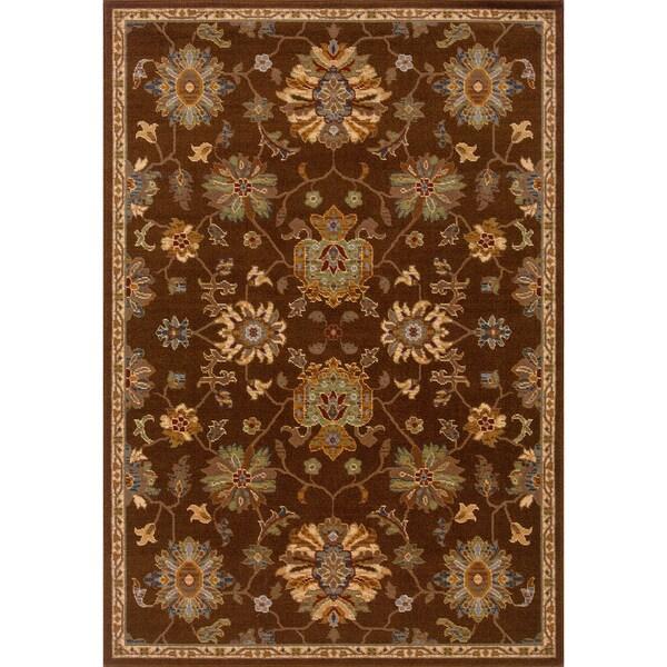 Indoor Brown Oriental Print Wool Blend Area Rug (5'3 X 7'6)