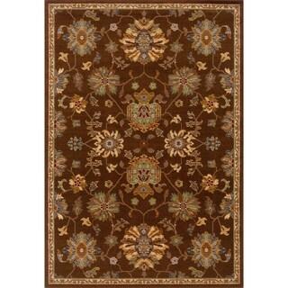 Indoor Brown Oriental Print Wool Blend Area Rug (6'7 X 9'6)