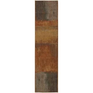 Indoor Orange Abstract Motif Multicolored Area Rug (1'10 X 7'6)