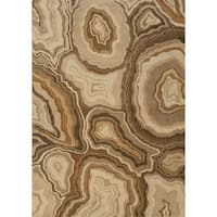 """Abstract Gold, Grey Area Rug (5'3 x 7'6) - 5'3"""" x 7'6"""""""