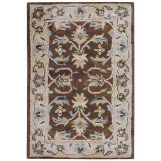 Herat Oriental Indo Hand-tufted Mahal Brown/ Beige Wool Rug (2' x 3')