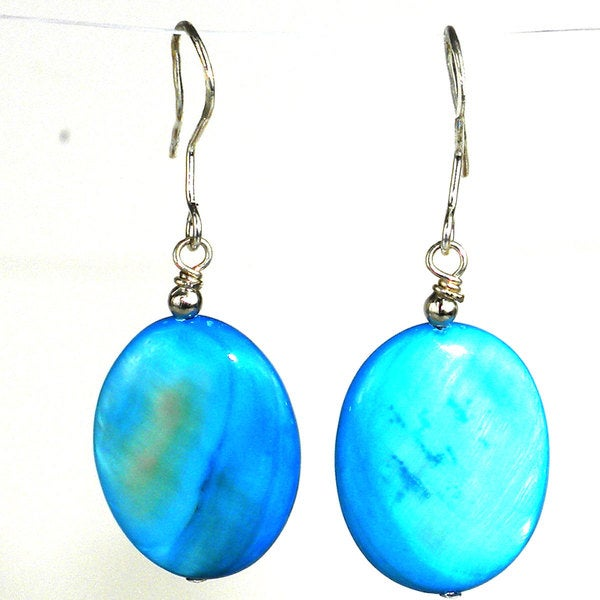 Handmade Blue Mother of Pearl Shell Oval Earrings (China)