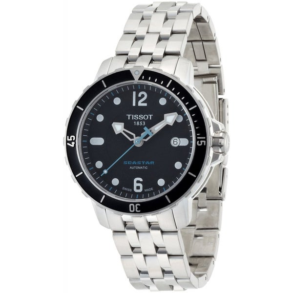 2edf4609106 Shop Tissot Men s T0664071105700 SeaStar Black Automatic Dial Watch ...