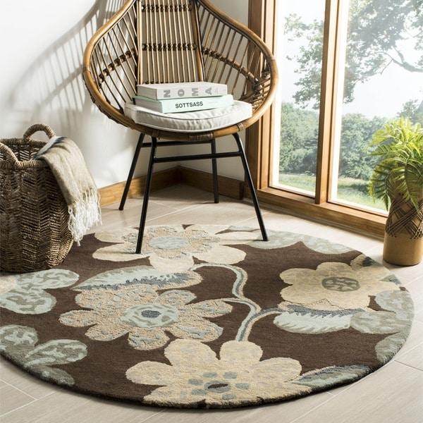 Safavieh Handmade Bella Brown Wool and Viscose Rug (5' Round) - 5'