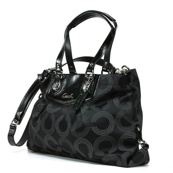 Coach 'Ashley' Black Dotted Tote Bag
