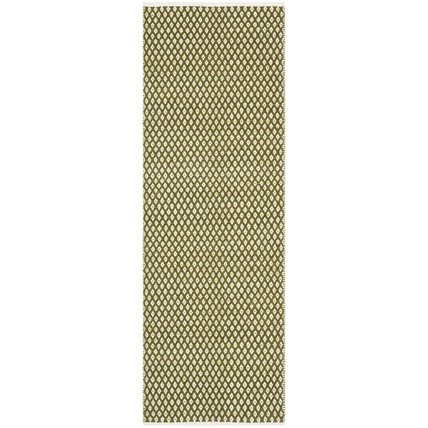 "Safavieh Handmade Boston Flatweave Olive Green Cotton Rug - 2'3"" x 7'"