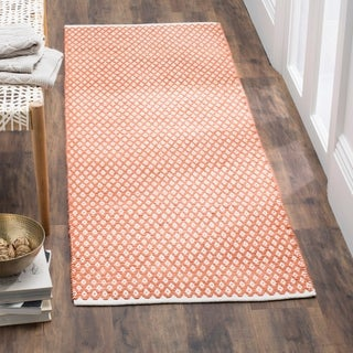 Safavieh Handmade Boston Flatweave Orange Cotton Rug (2'3 x 7')