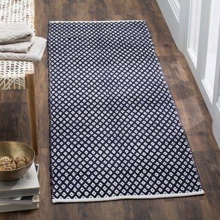 Safavieh Handmade Boston Flatweave Navy Blue Cotton Rug (2'3 x 7')
