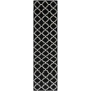 Safavieh Hand-woven Moroccan Reversible Dhurrie Black Wool Rug (2'6 x 12')