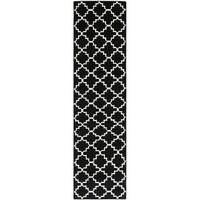 "Safavieh Hand-woven Moroccan Reversible Dhurrie Black Wool Rug - 2'6"" x 12'"