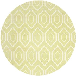 Safavieh Hand-woven Moroccan Reversible Dhurrie Green Wool Rug (8' Round)