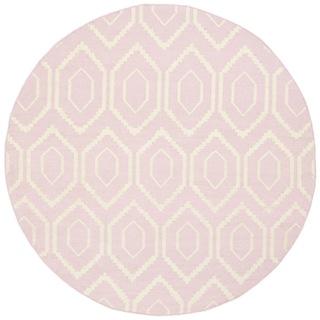 round pink rug. Safavieh Hand-woven Moroccan Dhurrie Pink Wool Rug - 6\u0027 Round E