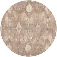 Safavieh Handmade Wyndham Natural Cotton-Canvas New Zealand Wool Rug - 7' Round