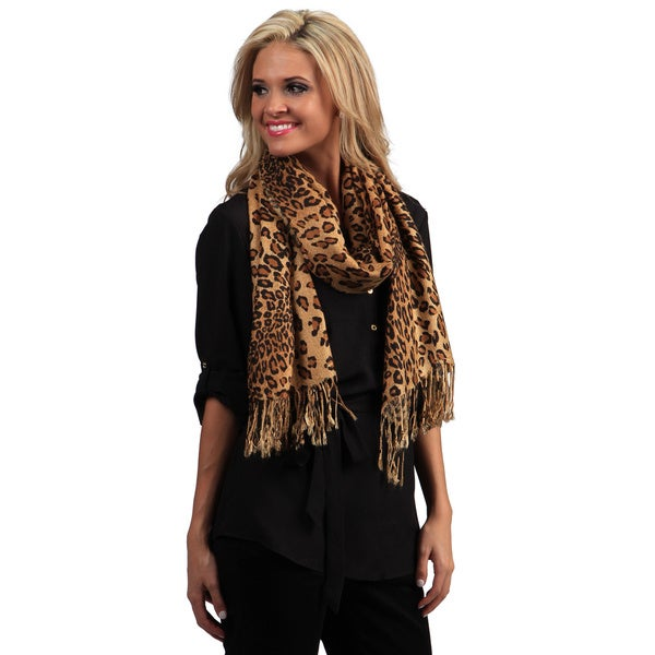 Peach Couture Women's Brown Leopard Print Scarf. Opens flyout.