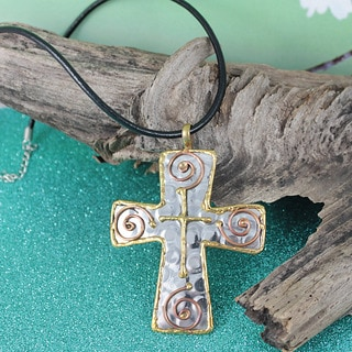 Handmade Copper Brass Cross Pendant Necklace (India)