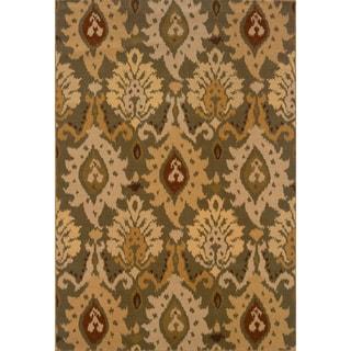 Indoor Green/ Gold Area Rug (6'7 x 9'6)
