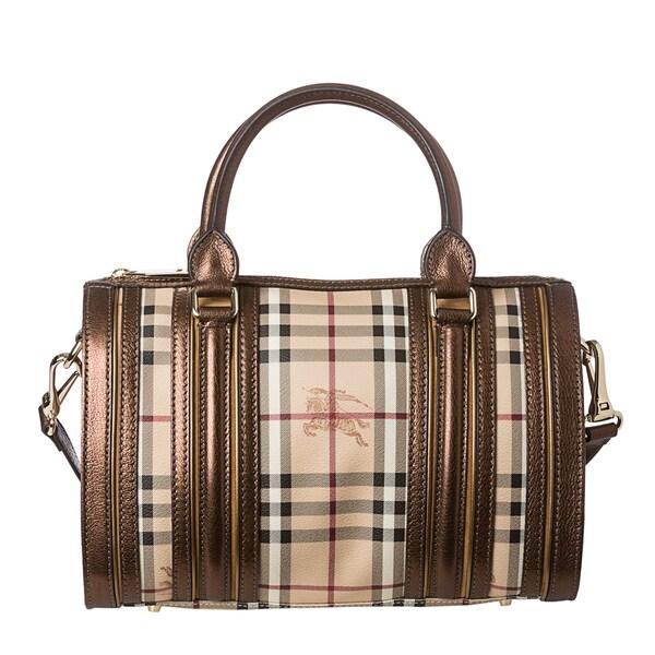 Burberry 'Alchester' Medium Haymarket Metallic Leather Trim Bowler Bag