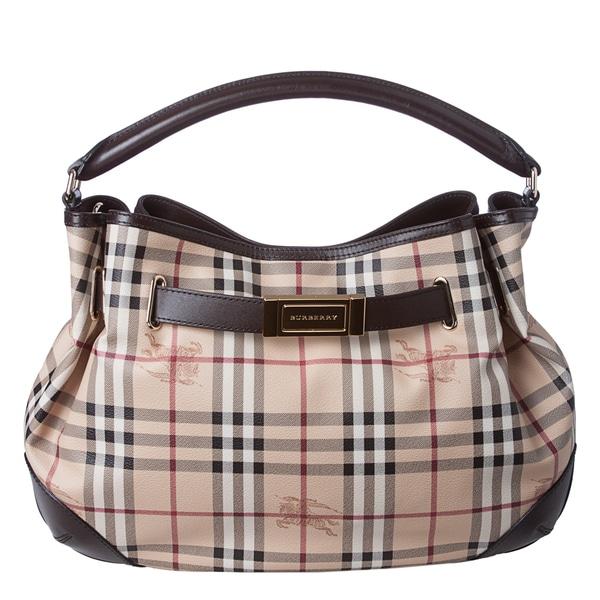 Burberry 'Willenmore' Medium Haymarket Leather Trim Hobo Bag