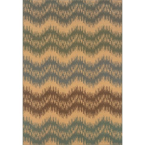 Indoor Ivory/Blue Area Rug (5'3 x 7'6)