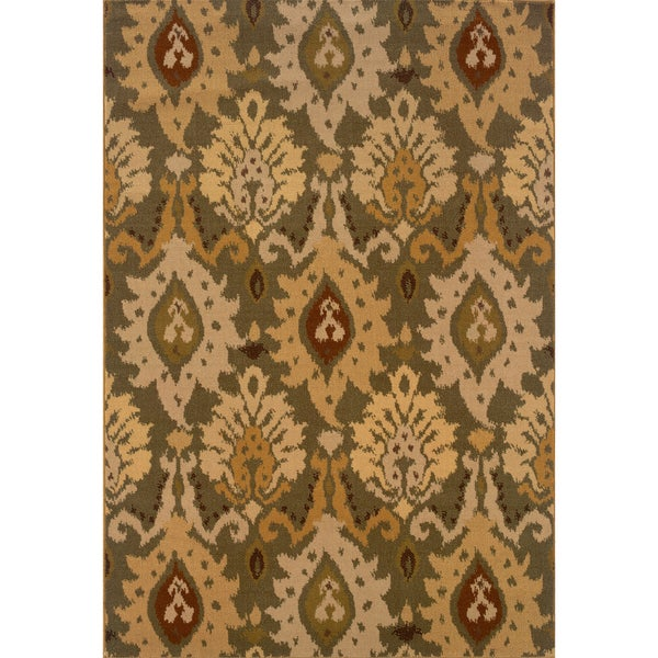 Green/ Gold Area Rug (5'3 x 7'6)