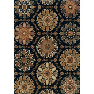 Floral Medallion Blue/ Gold Area Rug (5'3 x 7'6)