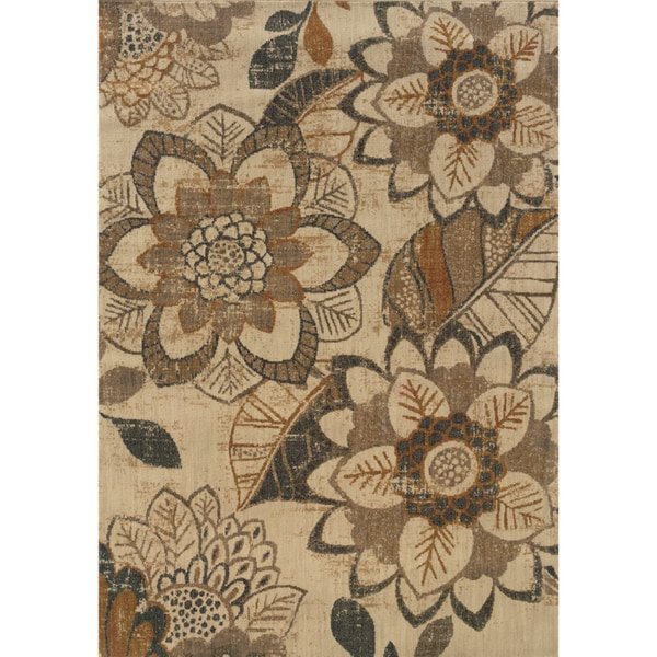 "Indoor Ivory/Grey Area Rug (5'3 X 7'6) - 5'3"" x 7'6"""