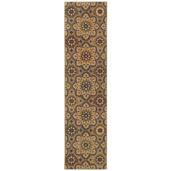 "Floral Gold Area Rug (1'10 x 7'6) - 1'10"" x 7'6"""