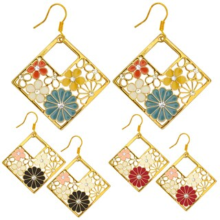 Kate Marie Goldtone Rhinestone and Enamel Diamond-shaped Flower Earrings