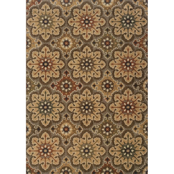 "Indoor Grey/ Gold Area Rug (1'10 x 3'3) - 1'10"" x 3'3"""