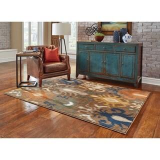 """Indoor Brown/ Navy Area Rug (3'10 x 5'5) - 3'10"""" x 5'5"""""""