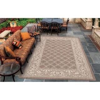 "Pergola Garden Trellis Cocoa-Natural Indoor/Outdoor Area Rug - 5'3"" x 7'6"""