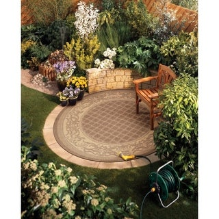 "Couristan Recife Garden Lattice Cocoa-Natural Indoor/Outdoor Round Rug - 7'6"" round"