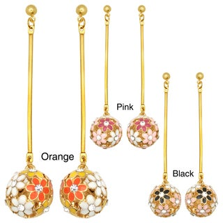 Kate Marie Goldtone Rhinestone and Enamel Flower Ball Earrings (3 options available)