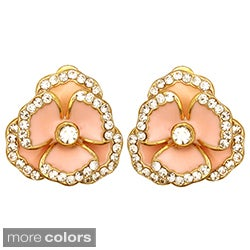 Kate Marie Goldtone Rhinestone and Enamel Flower Stud Earrings