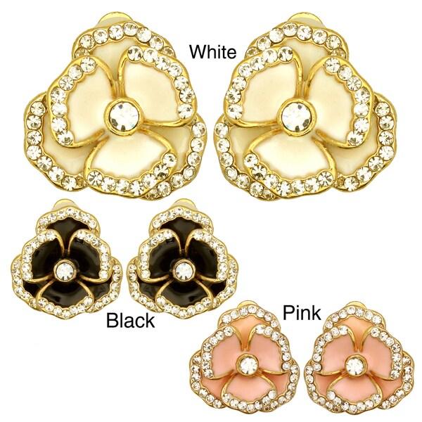 Kate Marie Goldtone Rhinestone and Enamel Flower Stud Earrings
