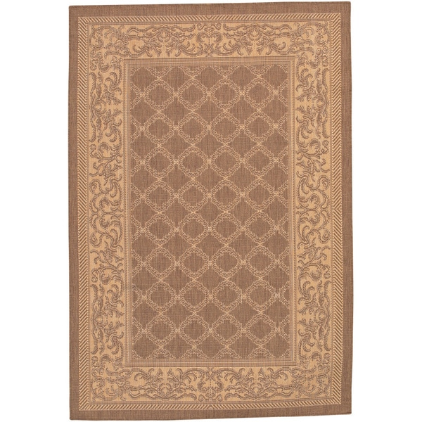 Recife Garden Lattice/ Cocoa Natural Rug - 7'6 x 10'9