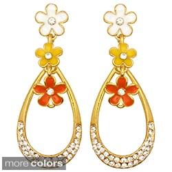 Kate Marie Goldtone Rhinestone and Enamel Flower Teardrop Earrings