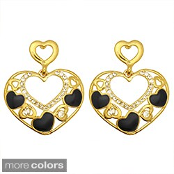 Kate Marie Goldtone Rhinestone and Enamel Heart Design Earrings