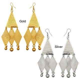 Kate Marie Goldtone or Silvertone Diamond Shape Dangle Earrings