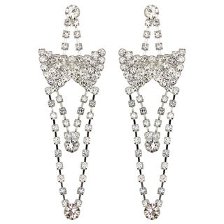 Kate Marie Silvertone Rhinestone Dangle Earrings