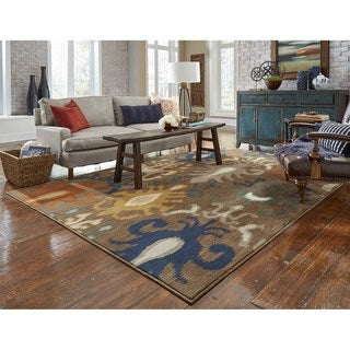 Indoor Brown/ Navy Area Rug (9'10 x 12'10)