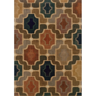 Gold Geometric Area Rug (5'3 x 7'6)